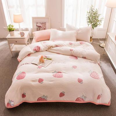 2018新品零静电雪花绒加厚法兰绒珊瑚绒法莱绒毛毯 1.2*2.0米 甜心草莓
