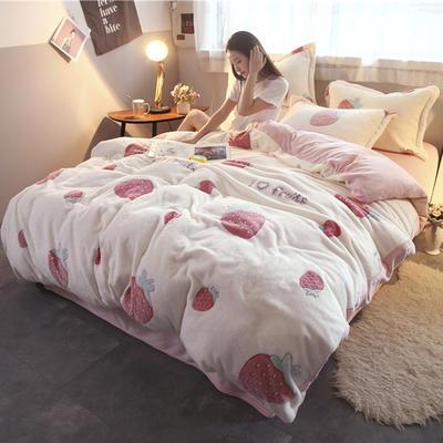 2018新款-零静电雪花绒四件套 三件套1.2m(4英尺)床 甜心草莓