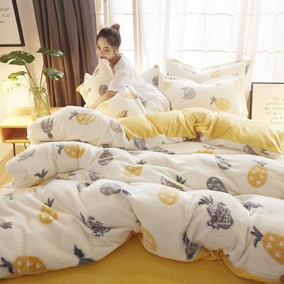 2018新款-零静电雪花绒四件套 三件套1.2m(4英尺)床 菠萝蜜语