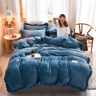 2019新款-时尚双层边四件套 床单款四件套1.8m(6英尺)床 时尚双层边-靛青