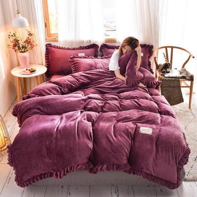2019新款-时尚双层边四件套 床单款三件套1.2m(4英尺)床 时尚双层边-豆沙