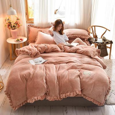 2019新款-时尚双层边四件套 床单款四件套1.8m(6英尺)床 时尚双层边-玉色