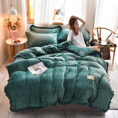 2019新款-时尚双层边四件套 床单款四件套1.8m(6英尺)床 时尚双层边-祖母绿