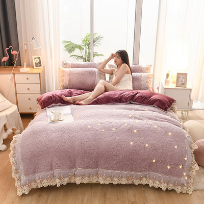 2019新款冬季-羊羔绒花边四件套 床笠款四件套1.8m(6英尺)床 浪漫紫
