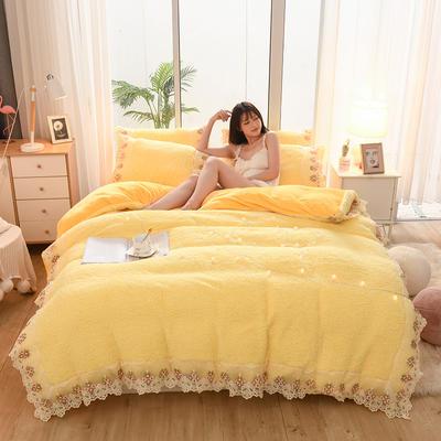 2019新款冬季-羊羔绒花边四件套 床笠款四件套1.8m(6英尺)床 柠檬黄