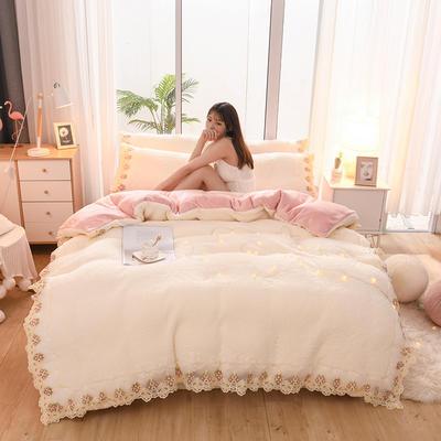2019新款冬季-羊羔绒花边四件套 床笠款四件套1.8m(6英尺)床 牛奶白