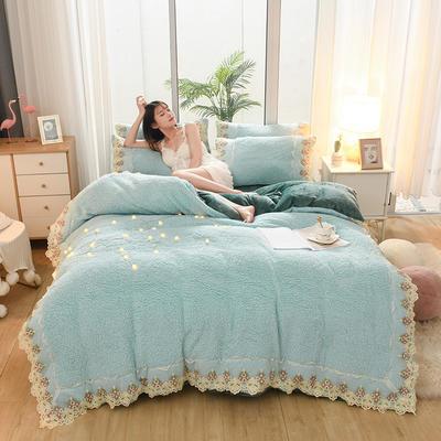 2019新款冬季-羊羔绒花边四件套 床笠款四件套1.8m(6英尺)床 天空蓝