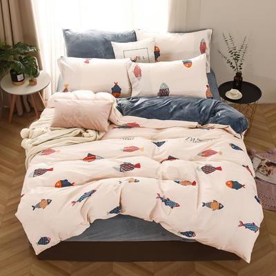2019新款-棉加绒四件套 床单款三件套1.2m(4英尺)床 锦鲤