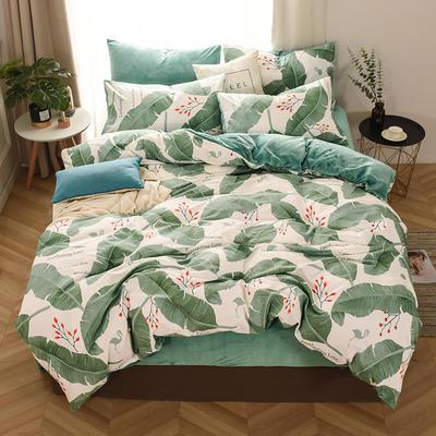 2019新款-棉加绒四件套 床单款三件套1.2m(4英尺)床 绿叶