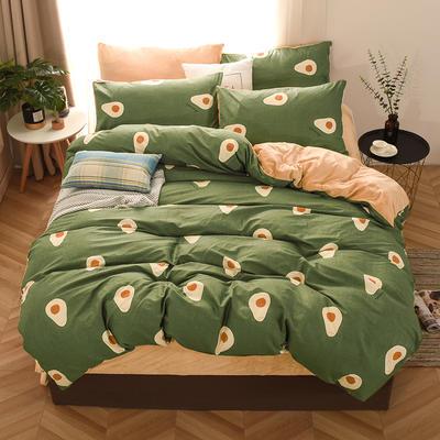 2019新款-棉加绒四件套 床单款三件套1.2m(4英尺)床 牛油果