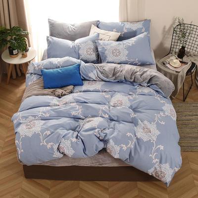 2019新款-棉加绒四件套 床单款三件套1.2m(4英尺)床 欧式风情