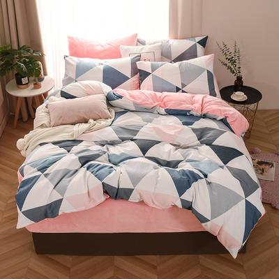 2019新款-棉加绒四件套 床单款三件套1.2m(4英尺)床 五彩三角