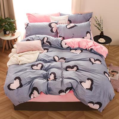 2019新款-棉加绒四件套 床单款三件套1.2m(4英尺)床 心相印