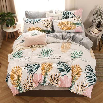 2019新款-棉加绒四件套 床单款三件套1.2m(4英尺)床 羽叶