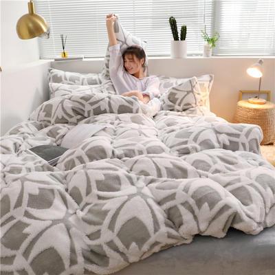 2019新款-提花舒棉绒四件套 床单款1.8m(6英尺)床 欧文