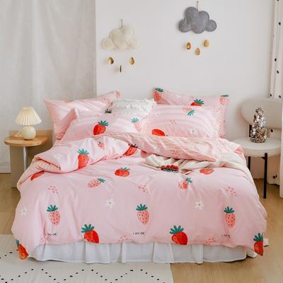 2020新款-全棉卡通四件套 床单款三件套1.2m(4英尺)床 草莓(粉)
