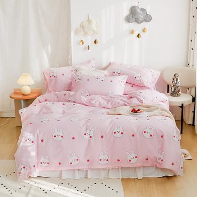 2020新款-全棉卡通四件套 床单款三件套1.2m(4英尺)床 草莓兔
