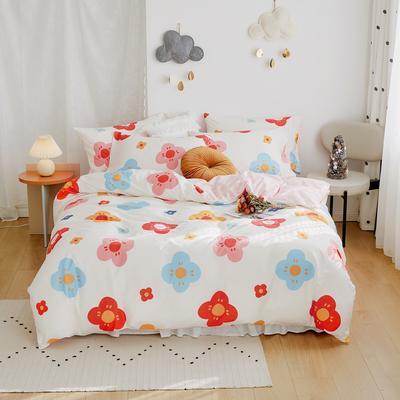 2020新款-全棉卡通四件套 床单款三件套1.2m(4英尺)床 花雾