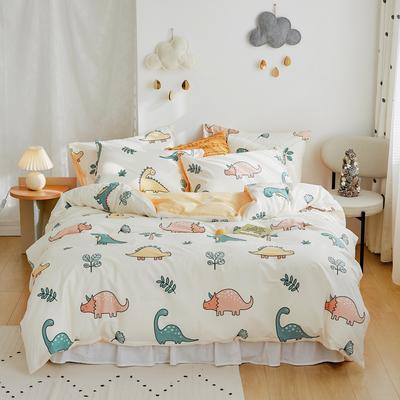2020新款-全棉卡通四件套 床单款三件套1.2m(4英尺)床 恐龙