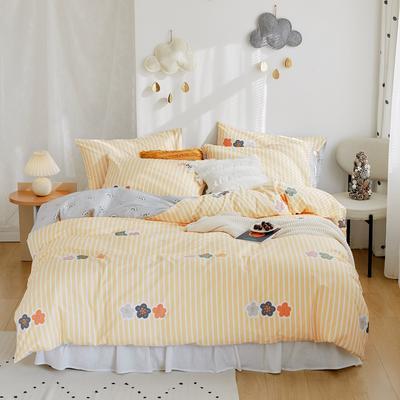2020新款-全棉卡通四件套 床单款三件套1.2m(4英尺)床 小菲花
