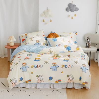 2020新款-全棉卡通四件套 床单款三件套1.2m(4英尺)床 宇航员
