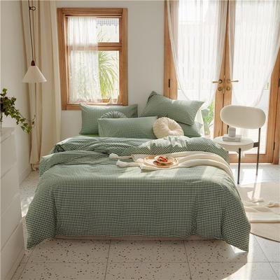 2020新款-格子系列全棉四件套 床单款三件套1.2m(4英尺)床 草绿小格