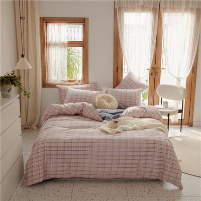 2020新款-格子系列全棉四件套 床单款三件套1.2m(4英尺)床 方块粉