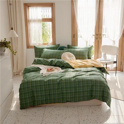 2020新款-格子系列全棉四件套 床单款三件套1.2m(4英尺)床 复古绿