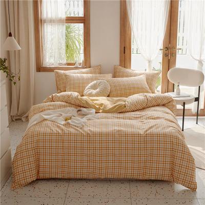2020新款-格子系列全棉四件套 床单款三件套1.2m(4英尺)床 桔小格