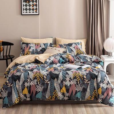 2020新款-春夏秋冬花卉全棉四件套 床单款三件套1.2m(4英尺)床 冬