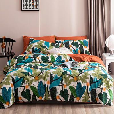 2020新款-春夏秋冬花卉全棉四件套 床单款三件套1.2m(4英尺)床 夏