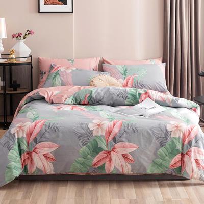2020新款-春夏秋冬花卉全棉四件套 床单款三件套1.2m(4英尺)床 遥望