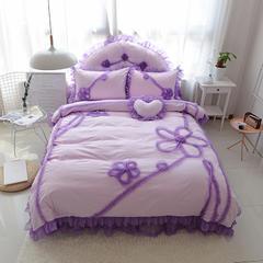 韩版全棉四件套-倾城之恋 枕套靠背 玫红- 心形枕