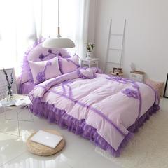 韩版全棉四件套-倾城之恋 枕套靠背 粉紫- 心形枕