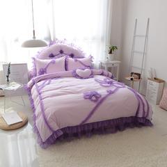 韩版全棉四件套-倾城之恋 枕套靠背 1.8m靠背粉紫