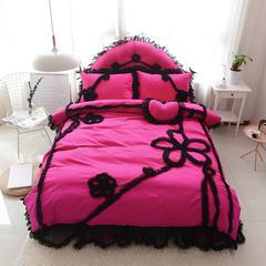 韩版全棉四件套-倾城之恋 枕套靠背 1.2m靠背玫红