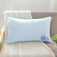 特价枕芯系列-亲肤羽丝枕 浅蓝中高枕