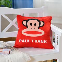 2018新款卡通短毛绒抱枕 45x45cm 大红大嘴猴
