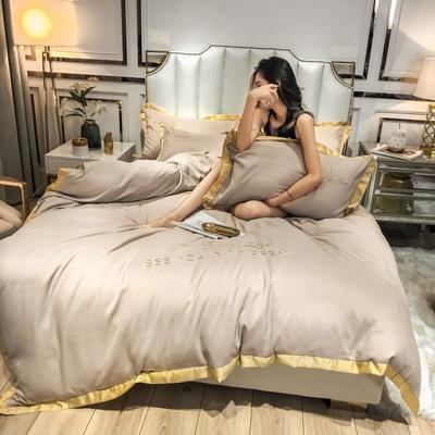 2019新款纯色绣花宽边四件套 1.2m床单款三件套 奶茶驼