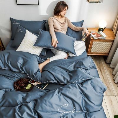 2019新款60支長絨棉純棉全棉四件套 1.2m床單款三件套 純色-賓利藍