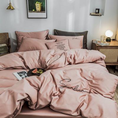 2019新款60支長絨棉純棉全棉四件套 1.2m床單款三件套 純色-淺豆沙