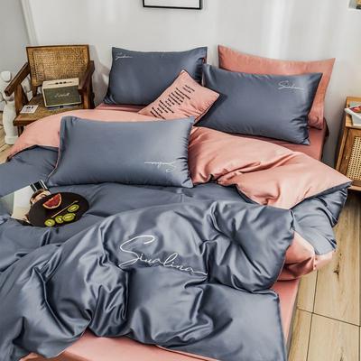 2019新款60支長絨棉純棉全棉四件套 1.2m床單款三件套 雙拼-紫灰