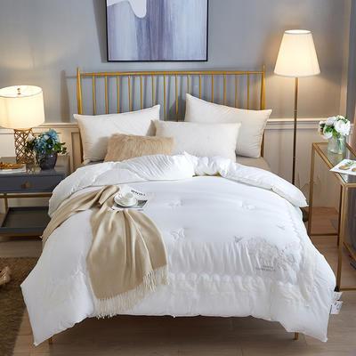 2018新款绣花工艺款茜茜里天丝棉冬被 200X230cm8.2斤 白