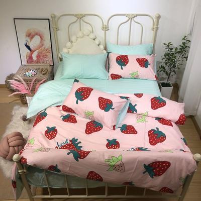 2019新款ins130x70全棉四件套 1.5m床单款 溜溜草莓