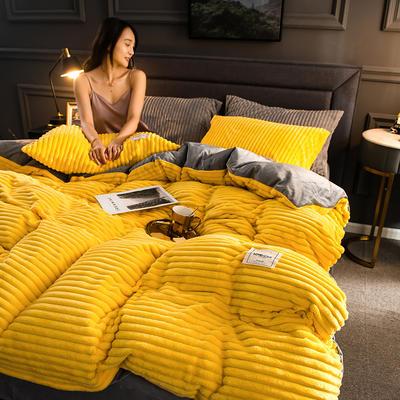 2019新款魔法绒四件套 1.2m床三件套 靓丽黄