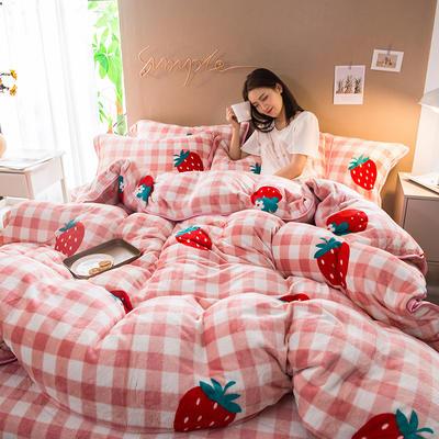 2019新款金貂绒四件套 1.2m床三件套 优品草莓