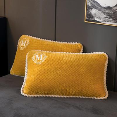 2020新款贝贝绒+毛毛绒单枕套 48*74cm/对 贝贝绒-芥末黄