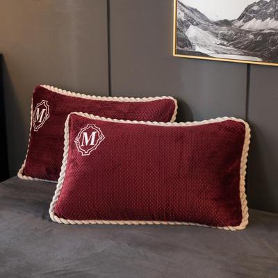 2020新款贝贝绒+毛毛绒单枕套 48*74cm/对 贝贝绒-酒红