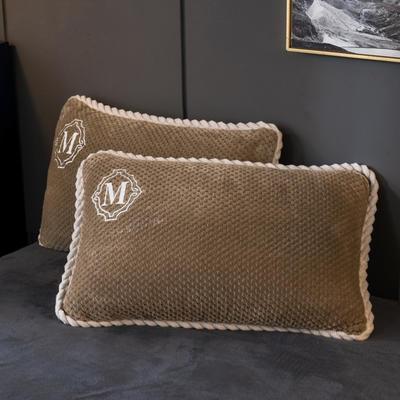 2020新款贝贝绒+毛毛绒单枕套 48*74cm/对 贝贝绒-卡其驼