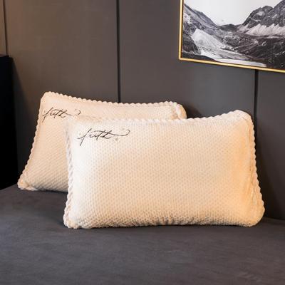 2020新款贝贝绒+毛毛绒单枕套 48*74cm/对 贝贝绒-米白
